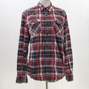 Buckle Black label snap up plaid shirt sz L